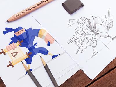Explain Ninja Mascot office pencil process mockup ninja character illustration sketch flat gartman fireart studio fireart