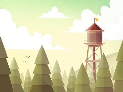Water tower 2d nature tree texture minimalism ambient flat forest gartman fireart studio fireart