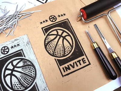 Dribbble Invite letter! craft invitation ball texture dribbble print linocut invite gartman fireart studio fireart