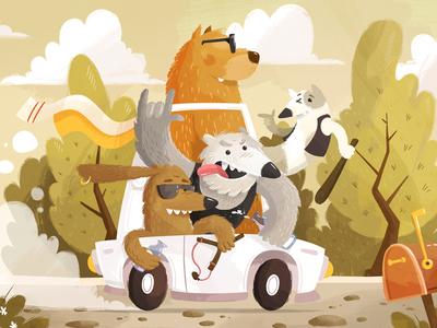 Bad Boyz Crew gangster bad dog brush illustration 2d animal gartman fireart studio fireart