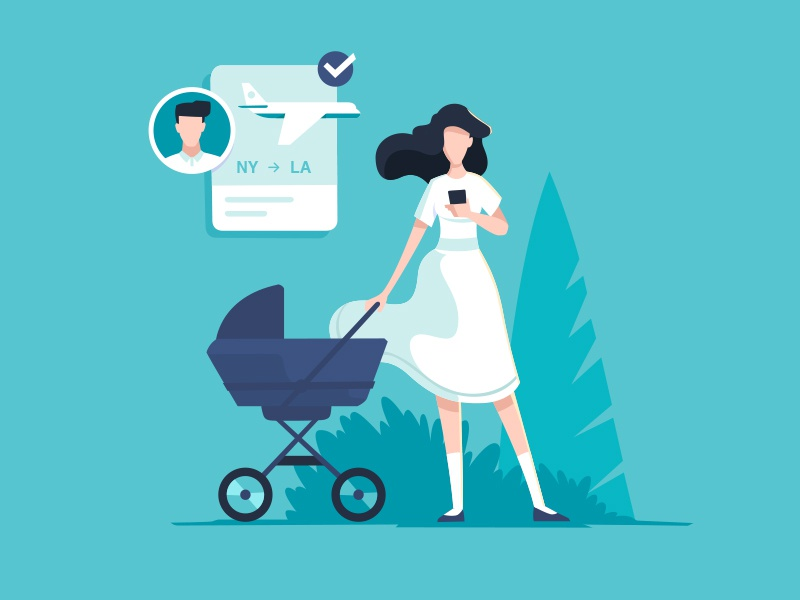 Young mother fly flat baby mother woman design character illustration fireart studio fireart