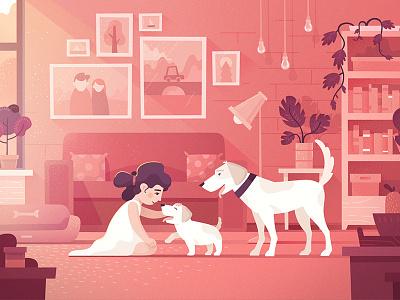 Kid friendly dog kid girl friend pet dog vector design texture illustration fireart studio fireart