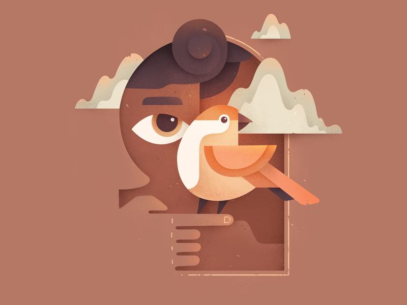 Mood weather window eye texture character autumn bird illustration