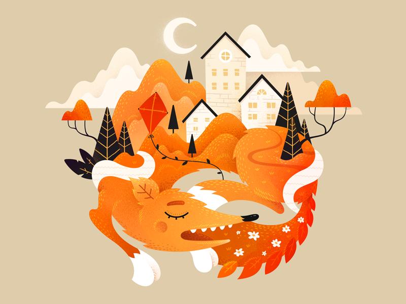 Foxtown weather noise texture nature town city fox illustration fireart studio fireart