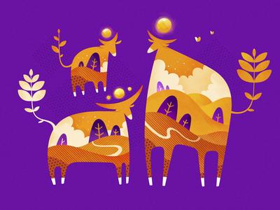 Sacred Cows 2d vector gartman texture illustration cow fireartstudio fireart