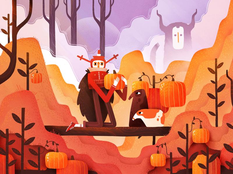 Helloween Forest color texture forest character gartman dangartman orange helloween art illustration