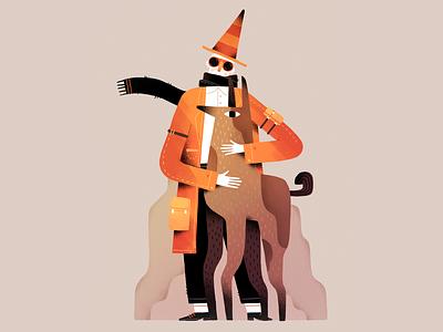 Dogman orange style color design gartman texture animal illustration character man dog