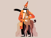 Dogman orange style color design gartman texture animal illustration character man dog