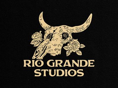 Custom Flag Illustration albuquerque roses studio cowboy cow skull skull