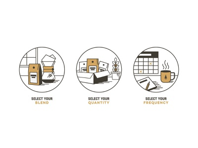 Icons - Coffee Subscriptions coffee packaging coffee mug icons design badges iconset