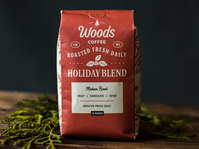 Holiday Blend - Woods Coffee branches woods coffee christmas holiday coffee bag