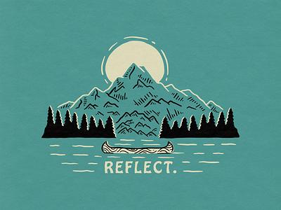 Reflect badge outdoor trees sun illustration canoe mountain