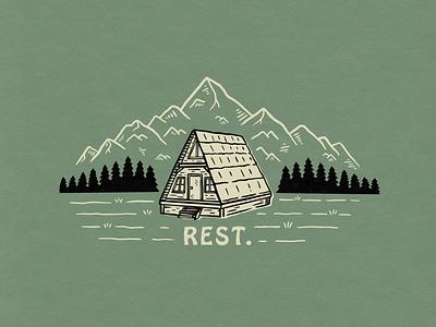 Rest shirt design illustration mountain cabin