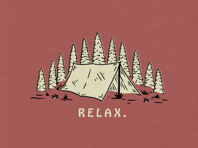 Relax shirt design lockup badge outdoor trees tent