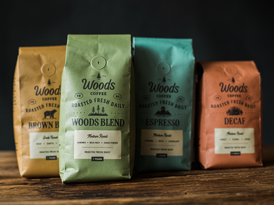 Coffee Bag Redesign - Woods Coffee coffee coffee shop packaging design redesign illustration packaging woods coffee icons branding coffee bag