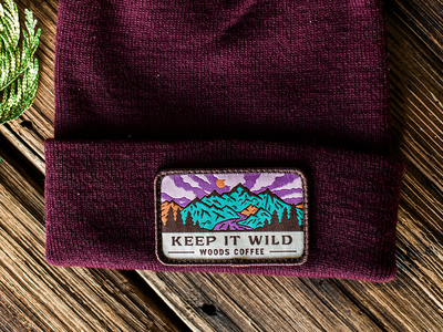 Keep It Wild trees sunset clouds mountain outdoor badge beanie woods coffee
