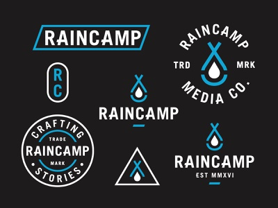 Raincamp Branding logo design outdoor logo water drop tent rain branding logo
