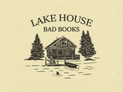 Bad Books - Lake House Illustration shirtdesign outdoor trees canoe boat cabin shark lake merch design