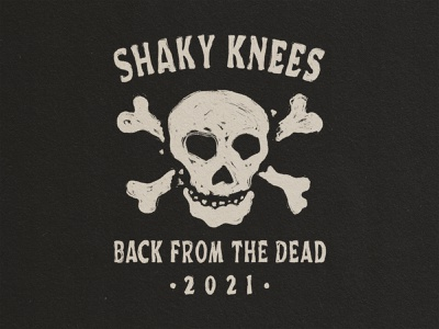 Back From The Dead - Shaky Knees band tee tshirt design band design shaky knees festival edgy merch design pirate skull