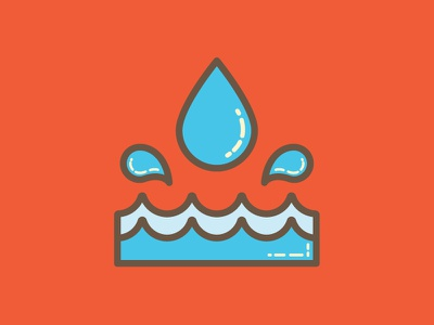 Splash - Water Activities Icon waves bubble fun bright shiny monoweight illustration line art simple waterdrop splash water