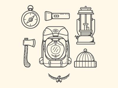 The Essentials - Osprey Packs camping pattern monoweight line art illustration lantern beanie shirt hatchet compass backpack osprey packs