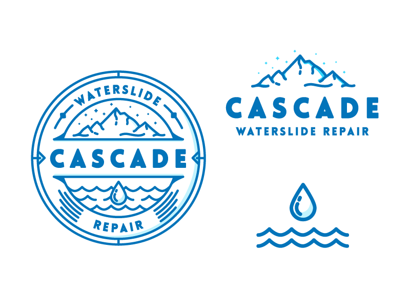 Cascade Badge - More Branding outdoor mountain badge cascade water icon illustration mark logo