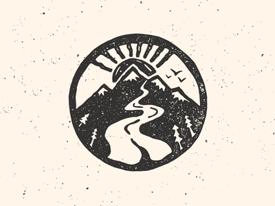 Mountain Mark letterpress outdoor northwest trees sun gritty sketch mountain illustration hand drawn