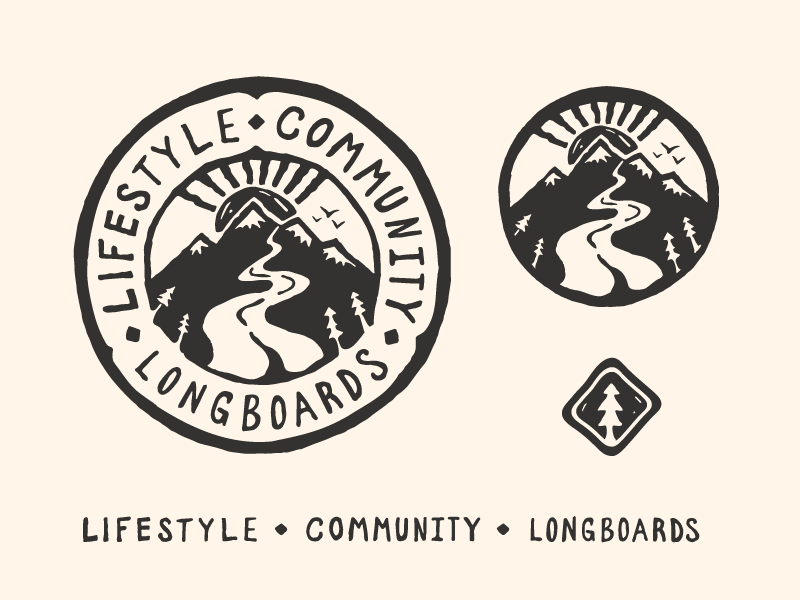 Lifestyle / Community / Longboards lifestyle longboards trees sunset hiking outdoors mountains icon logo mark illustration badge