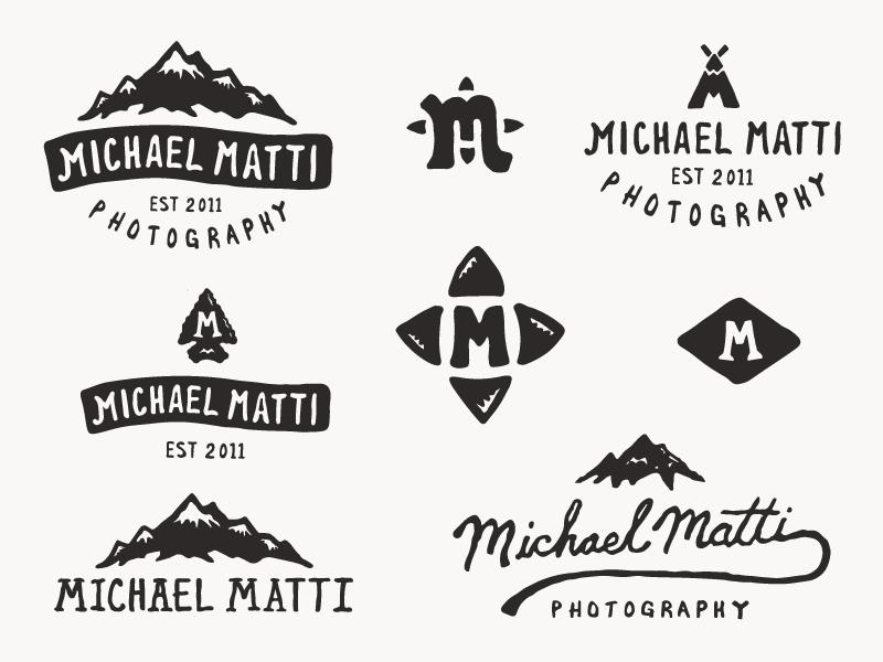 Michael Matti - Branding Project photographer branding teepee trees outdoors mountains icon logo mark illustration badge