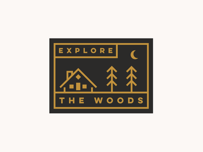 Cabin Patch line art moon outdoors northwest trees woods cabin badge illustration logo patch