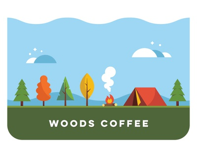 Camping - Thing for a thing camp fire fire simple vector woods mountains clouds trees camping tent illustration