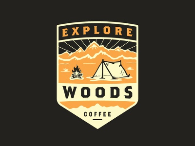 Explore Badge woods coffee coffee mountains campfire camping tent mark logo patch illustration