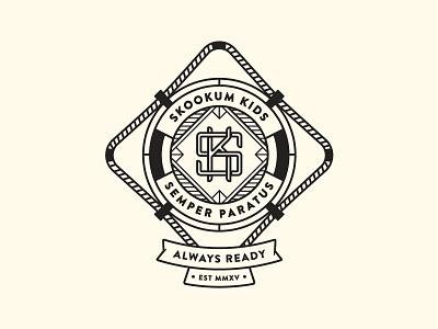 Skookum Kids - Shirt Design lifeguard ring float tshirt logo kids k s vector badge illustration shirt