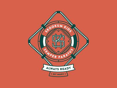 Skookum Kids - Full Color lifeguard ring float tshirt logo kids k s vector badge illustration shirt