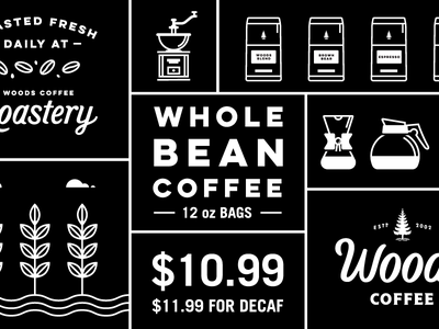 Whole Bean Coffee Sign leaf plants sign badge icon coffee bags line art coffee border illustration