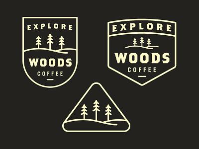 Explore Badges sticker vintage line art woods coffee icon trees mountain badge illustration