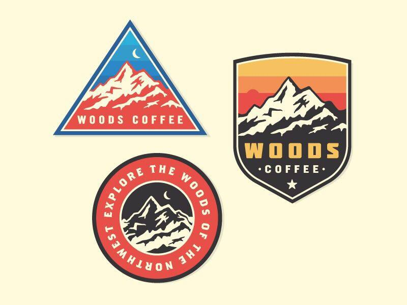 Mountain Patches illustration icon woods coffee mark outdoors mountains logo badges patches