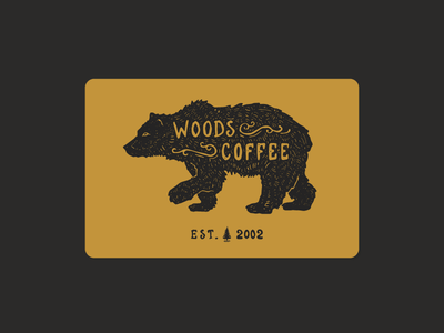 Bear - Woods Coffee Card illustration lettering type typography hand drawn bear woods coffee gift card