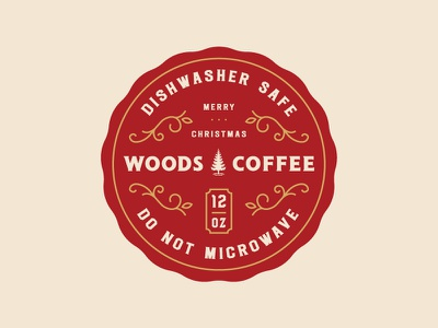 Don't microwave it... Don't do it! holiday christmas woods coffee mark logo badge sticker label