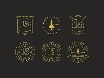 Another round - Fifteen Year Badges seal anniversary tree simple line art mark branding logo badges coffee woods coffee