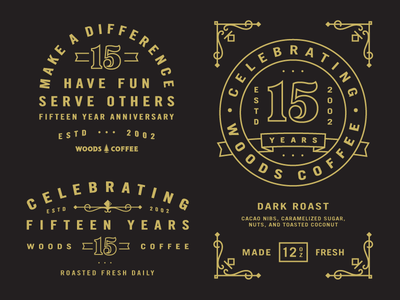 Badges and Labels anniversary 15 year coffee bag tag icon mark logo badge labels beans coffee woods