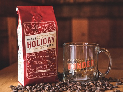 Holiday Blend cup mark logo label merchandise beans mug coffee bag packaging coffee