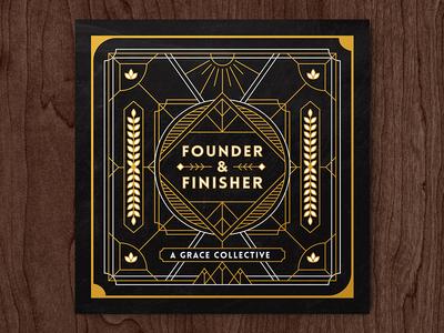 Founder & Finisher - Album Art album cover print layout typography line art border sun design cd art cover album