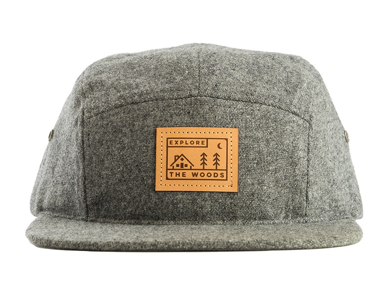 Explore The Woods - Wool Five Panel Hat mark logo patch leather hat cap  five panel 95365958a87a