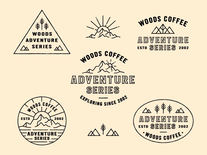 Adventure Series Badges sunrise coffee woods outdoor mountains icon logo mark badges merch