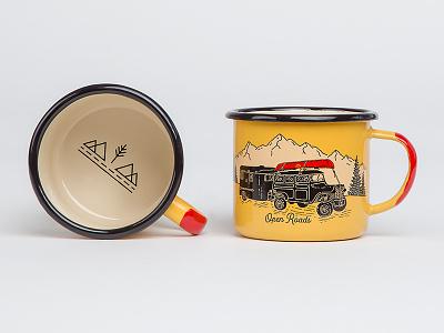 Open Roads - Enamel Mug logo badge mountains hiking truck product merch cup coffee mug enamel