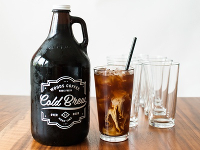 Cold Brew Growler logo label badge ice mug glass coffee cold brew growler