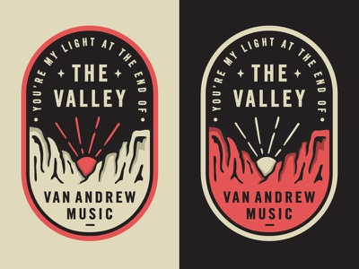 The Valley - Van Andrew outdoor mountain sunrise sunset mountains the valley badge stickers