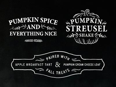 Woods Coffee Fall Promo custom type typography chalkboard chalk lettering sing promo fall branding badge