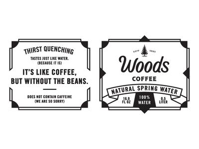 Tastes Like Water... logo frame beans pun funny lockup badge packaging coffee water bottle label